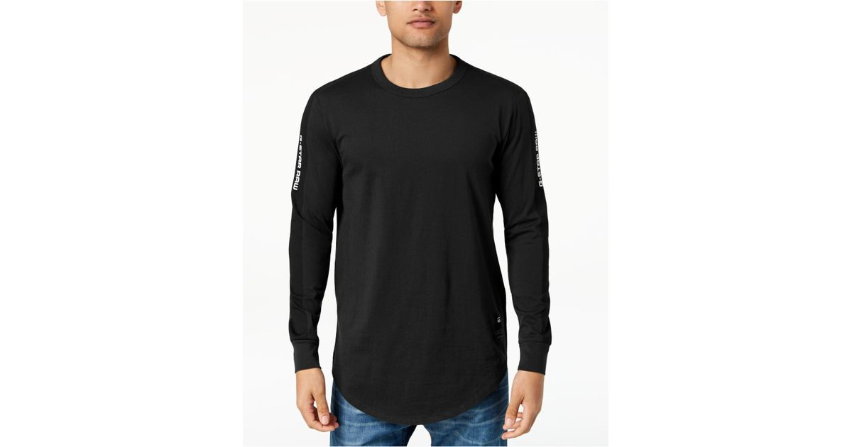 96ac939cff1 G-Star RAW Swando Stripe Logo Long Sleeve T-shirt, Created For Macy's in  Black for Men - Lyst