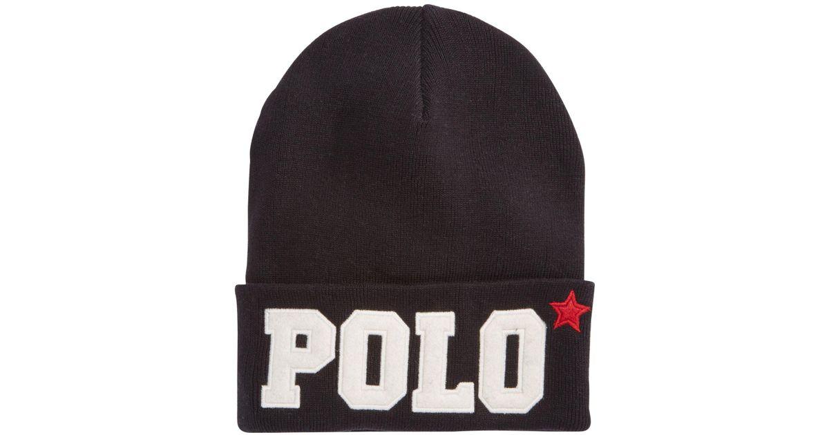 310880776a0 Lyst - Polo Ralph Lauren Varsity Knit Hat in Black for Men