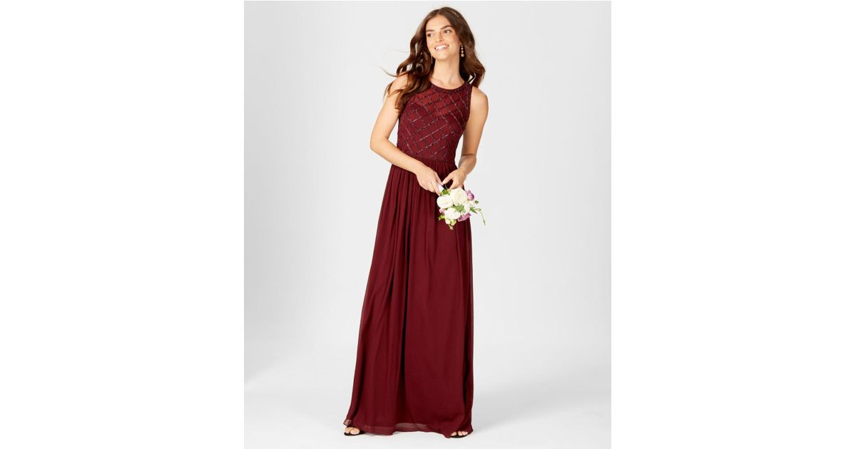 Lyst Adrianna Papell Beaded A Line Gown In Red