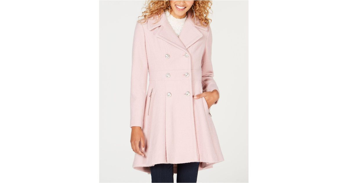 Lyst Guess Double Breasted Skirted Coat