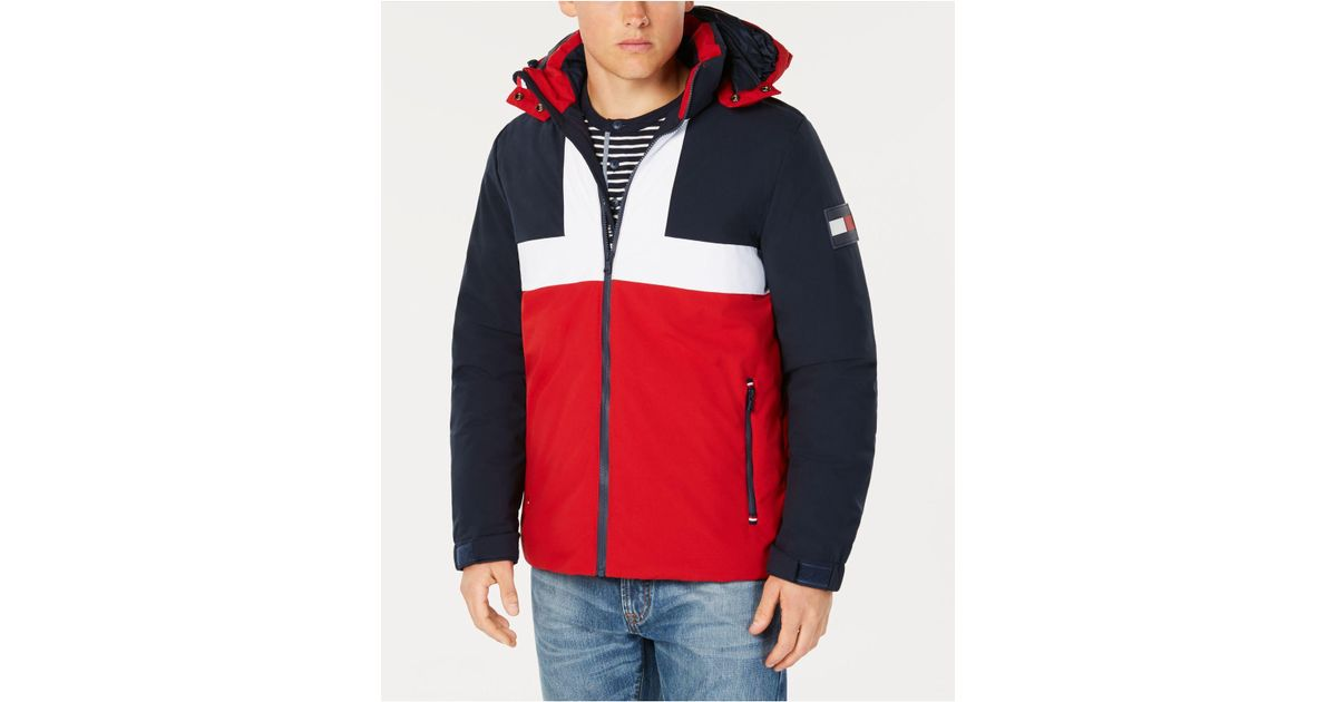 e045813a3e2d Tommy Hilfiger Colorblocked Ski Jacket With Removable Hood, Created For  Macy's in Blue for Men - Lyst