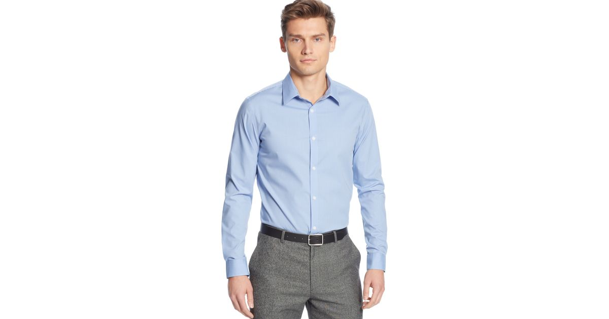 Calvin klein men 39 s infinite cool no iron shirt in blue for for No iron shirts mens