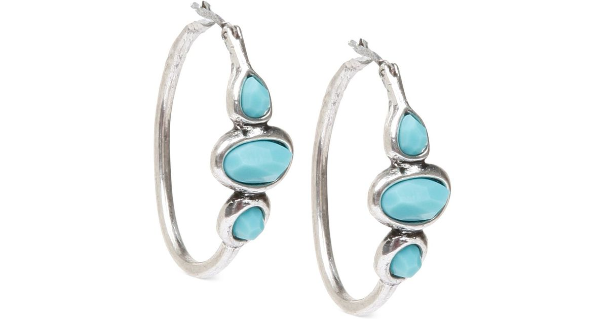 Lucky brand silver tone turquoise hoops earrings in for Macy s lucky brand jewelry