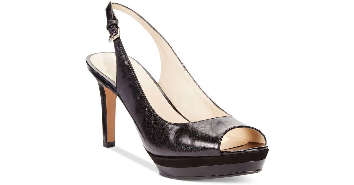 nine west able mid heel pumps in black lyst