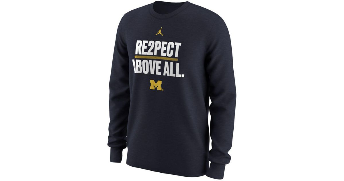 82bb02bc81d3f2 Lyst - Nike Michigan Wolverines Re2pect Above All Long Sleeve T-shirt in  Blue for Men