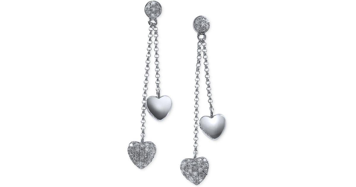 Lyst Effy Collection Diamond Heart Dangle Earrings 1 4 Ct T W In 14k White Gold