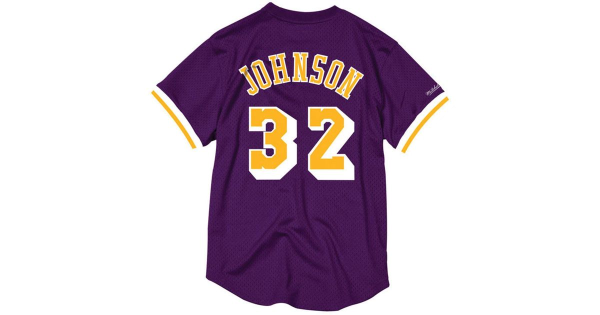c0c56fd92 ... shopping lyst mitchell ness magic johnson los angeles lakers name and  number mesh crewneck jersey in