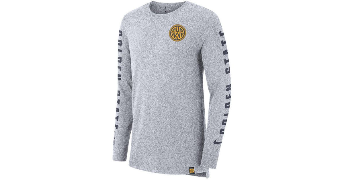 3d40e70c Lyst - Nike Golden State Warriors City Elevated Long Sleeve Dry T-shirt in  Gray for Men