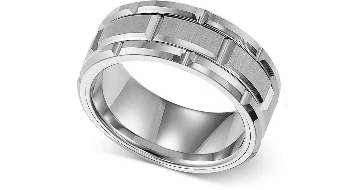 Lyst Triton Men S Ring 8mm White Tungsten Wedding Band In For