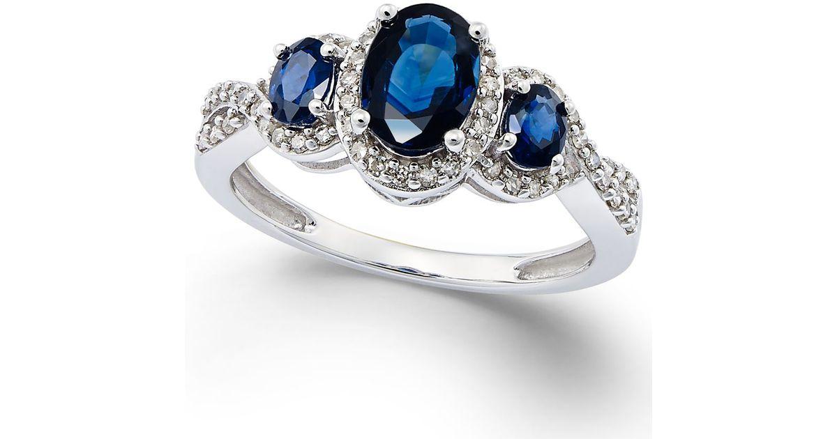 Macy s Sapphire 1 1 3 Ct T w And Diamond 1 4 Ct T w Three stone R