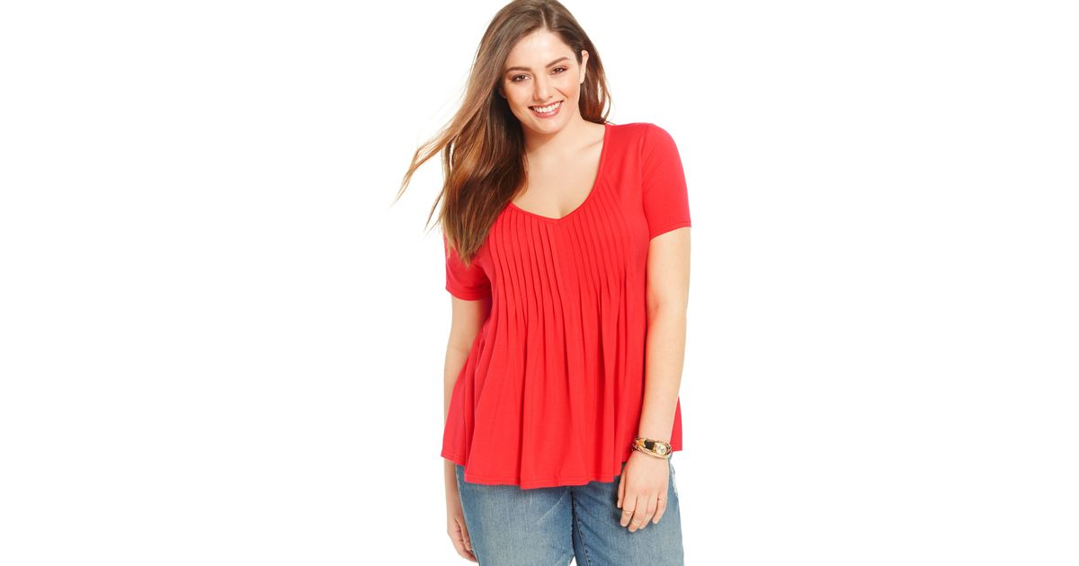 American rag trendy plus size pintucked tee in red lyst for Tucked in shirt plus size