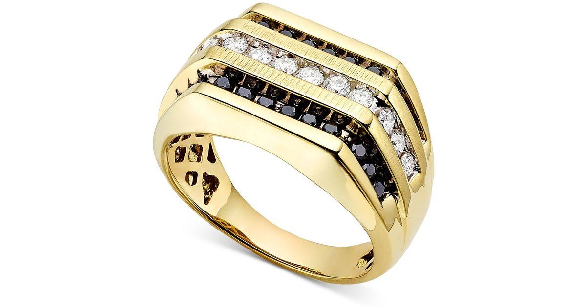 Macy s Men s White And Black Diamond 1 Ct T w Ring in Metallic fo