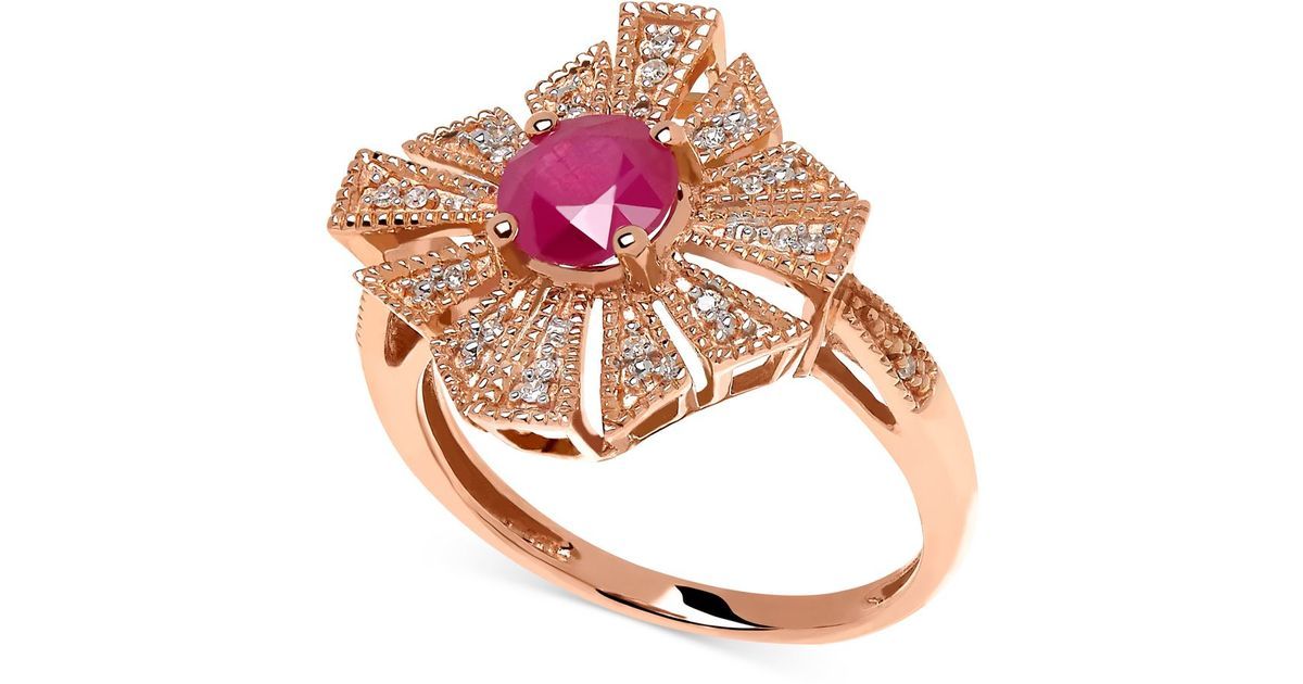 Macy s Ruby 1 Ct T w And Diamond Accent Ring In 14k Rose Gold in Meta