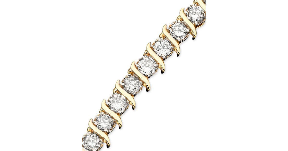 Lyst Macy S Diamond Bracelet In 10k Gold 5 Ct T W In Metallic