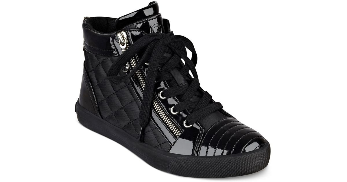G By Guess Orily Quilted High Top Sneakers In Black Lyst
