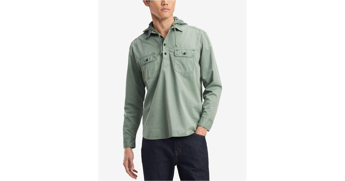 07bc1ebfe21 Lyst - Tommy Hilfiger Ben Hooded Popover Shirt in Green for Men