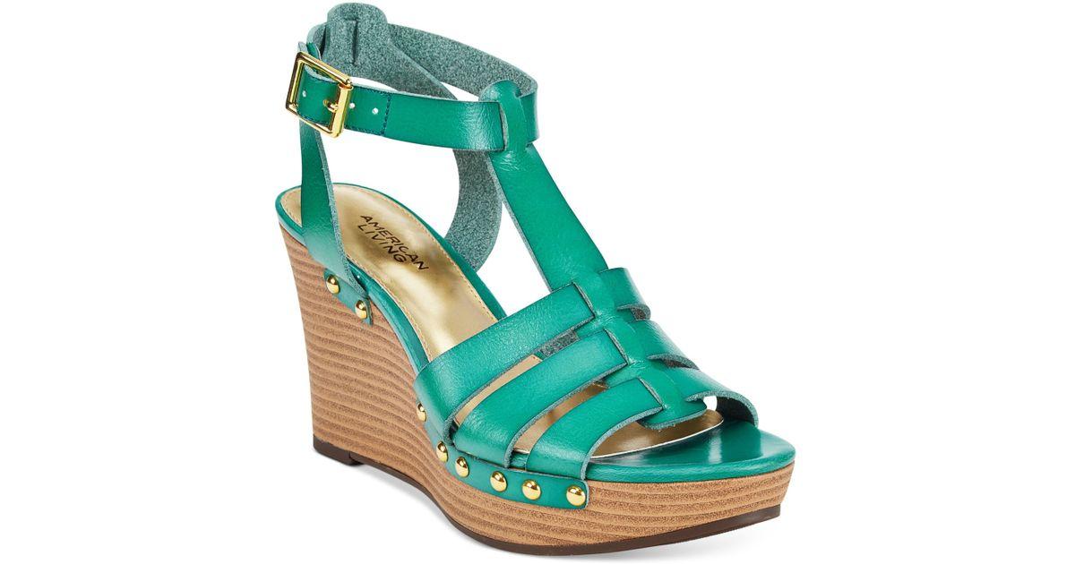 ca86493cd70 Lyst - American Living Abaline Platform Wedge Sandals in Green