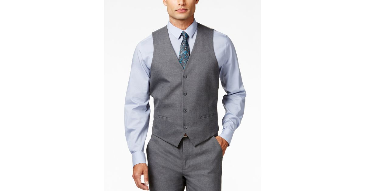 alfani s traveler grey solid slim fit vest only at