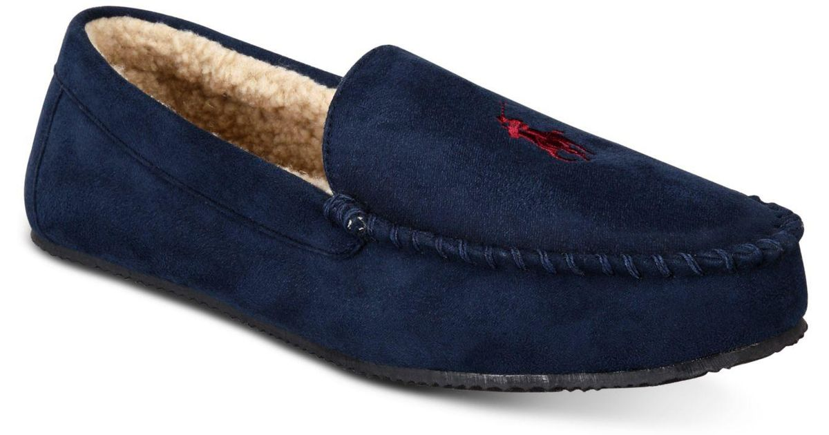 850bf38bdf Lyst - Polo Ralph Lauren Dezi Micro-suede Slippers in Blue for Men