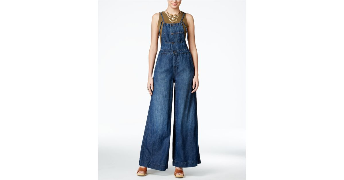 d97a68f5dd Lyst - Lucky Brand Jeans Gramercy Navy Wash Overalls in Orange