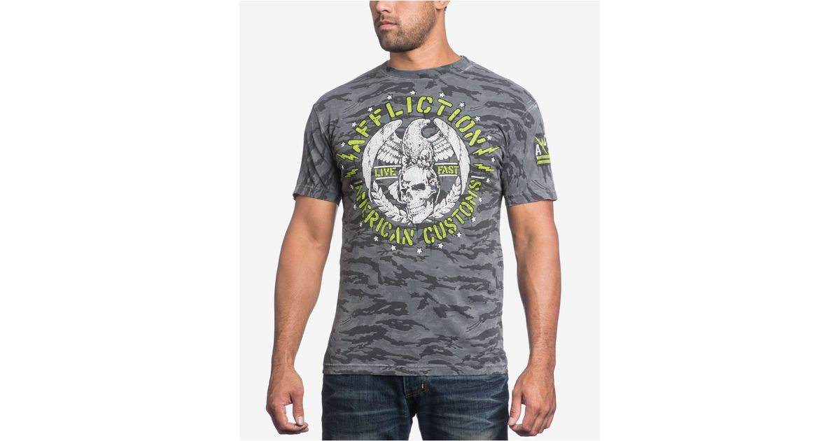 Affliction men 39 s congress t shirt in metallic for men lyst for Silver jeans t shirts