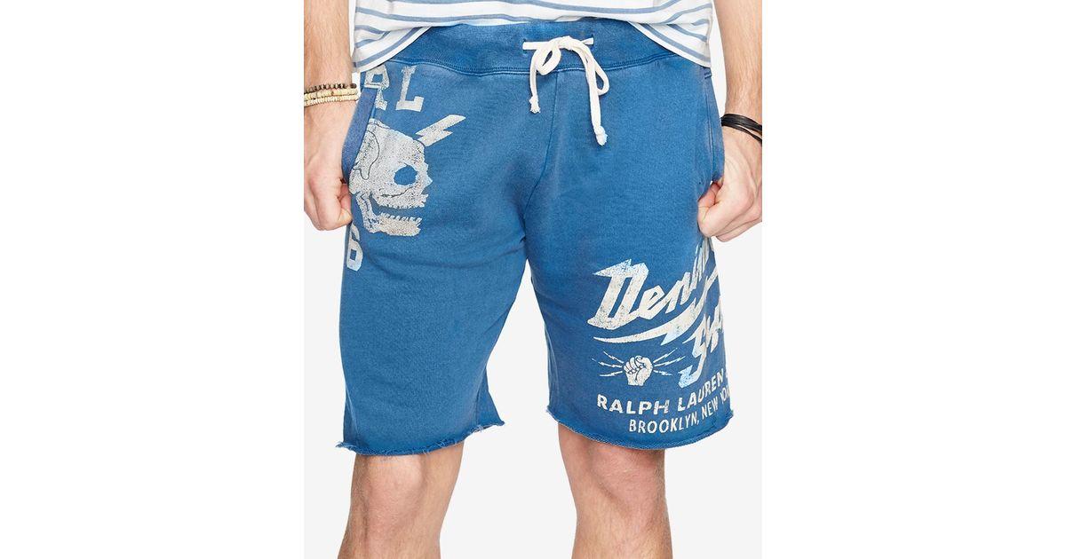 26a74e07bcf Lyst - Denim & Supply Ralph Lauren Men's French Terry Cutoff Shorts in Blue  for Men