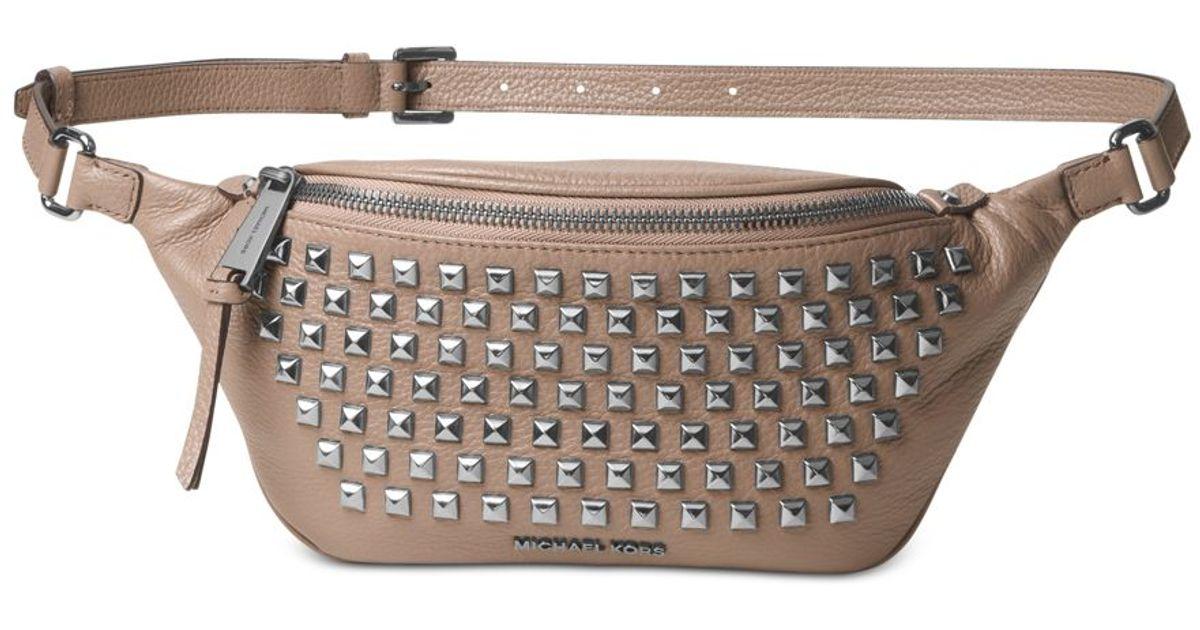 275ce0056f65a1 where can i buy lyst michael kors michael rhea zip pyramid stud belt bag  dcd20 6ab00