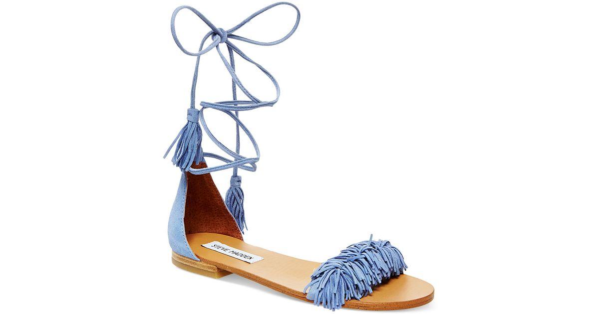 Steve Madden Women S Sweetyy Lace Up Flat Sandals In Blue