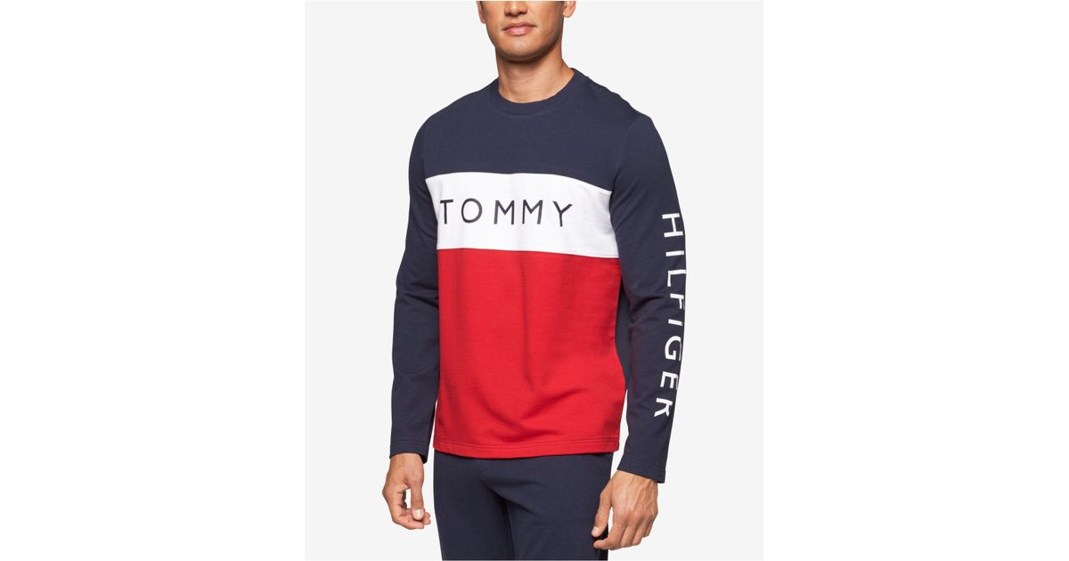933849556a51 Tommy Hilfiger Men's Modern Essentials Cotton French Terry Logo Top in Blue  for Men - Lyst