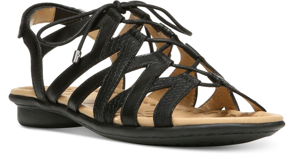 Naturalizer Whimsy Lace Up Flat Sandals In Black Lyst