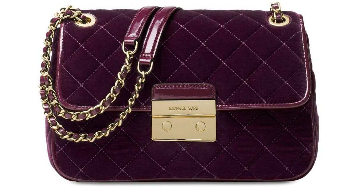 567ca5c6a971aa Michael Kors Sloan Large Chain Quilted Velvet Shoulder Bag in Purple - Lyst