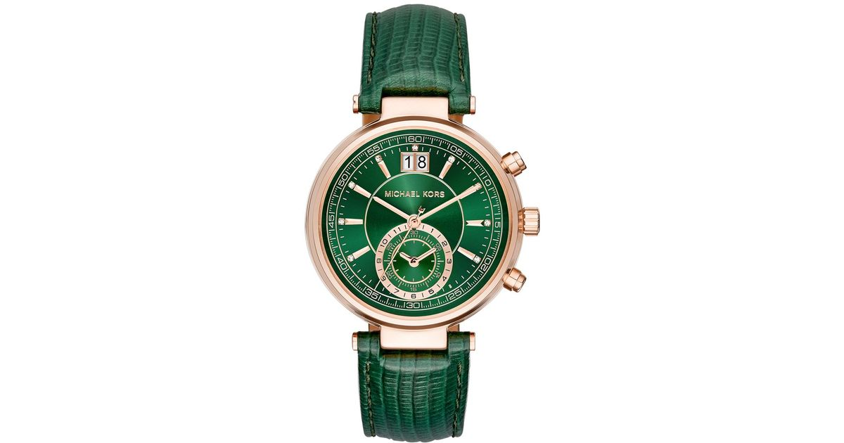d3bcc4f48a5d Lyst - Michael Kors Women s Chronograph Sawyer Green Leather Strap Watch  39mm Mk2581 in Green