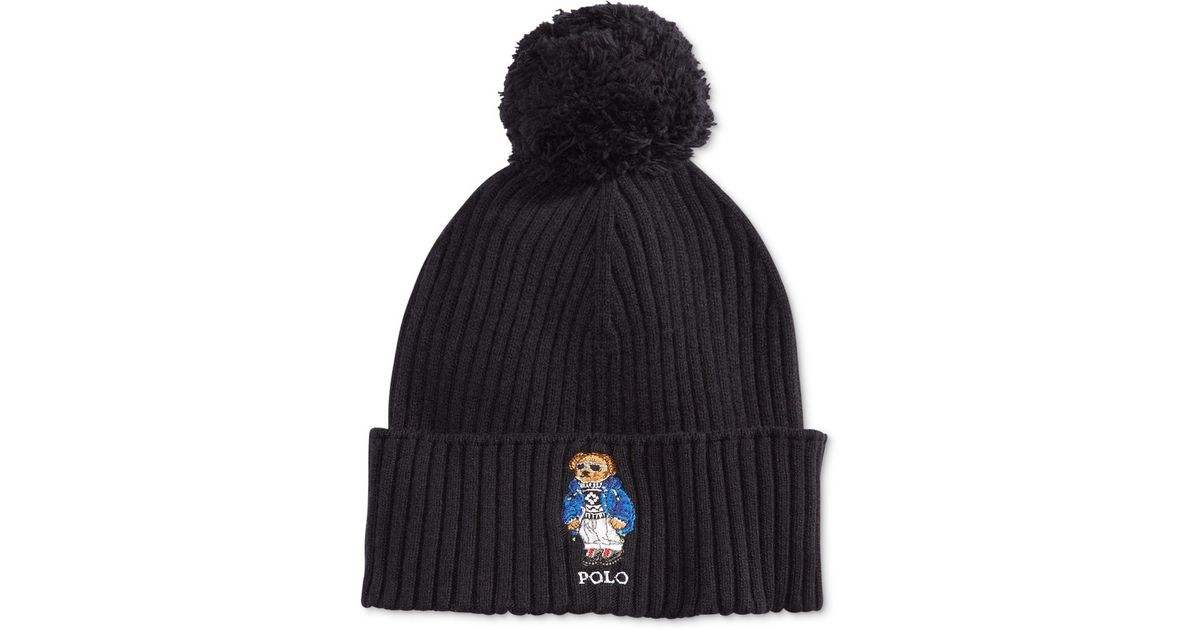 c005b2adae0fa Polo Ralph Lauren Men s Ski Bear Pom-pom Hat in Black for Men - Lyst