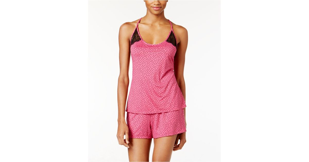 035a207425 Lyst - Linea Donatella Lace Racerback Cami And Shorts Printed Pajama Set in  Pink