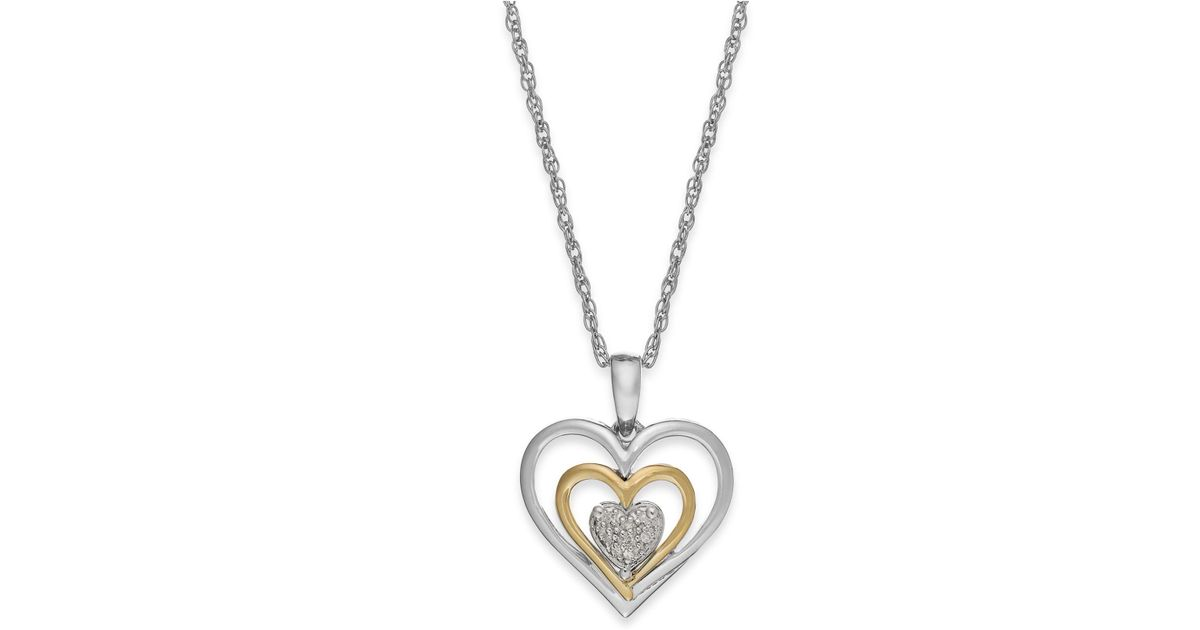 Lyst macys diamond accent heart pendant necklace in 14k gold and lyst macys diamond accent heart pendant necklace in 14k gold and sterling silver in metallic aloadofball Image collections
