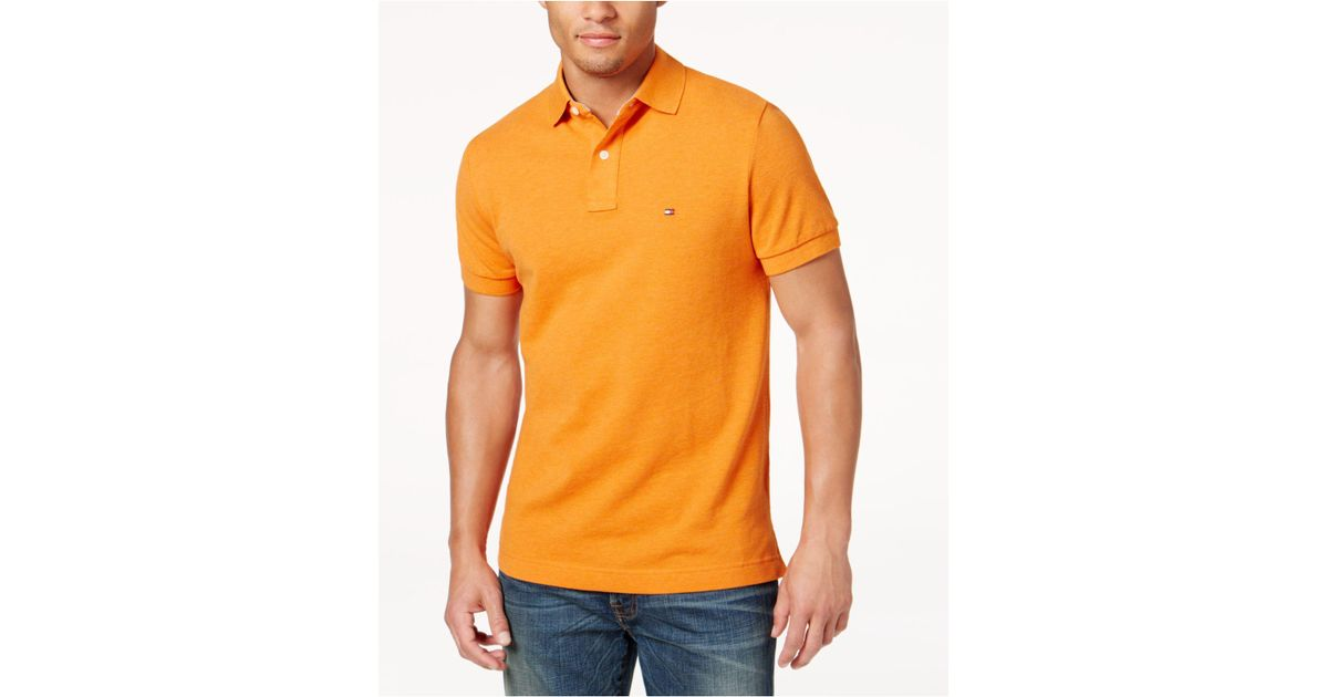 d28a25b9a Lyst - Tommy Hilfiger Custom-fit Ivy Polo in Orange for Men