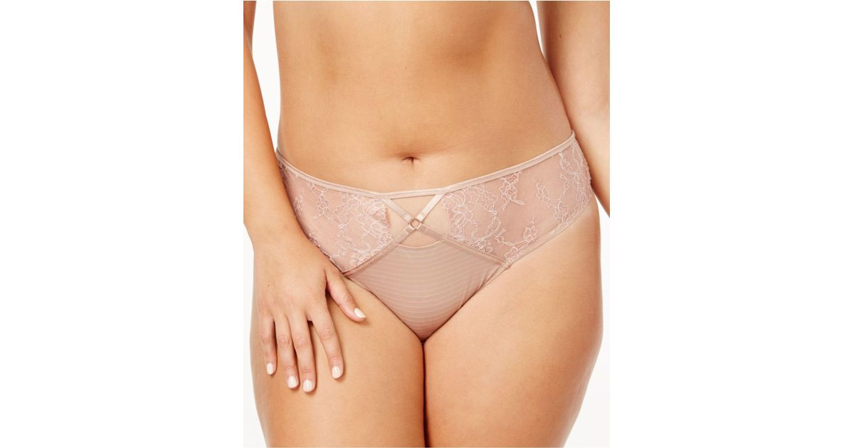 011af6ee86544 Lyst - Ashley Graham Plus Size Crisscross-keyhole Lace Thong 760460 in  Natural