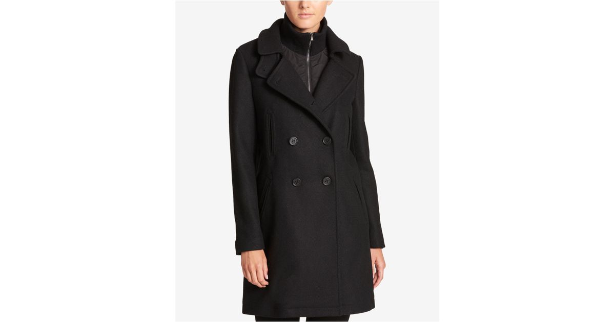 ff1bace4a36 Lyst - DKNY Double-breasted Wool-blend Walker Coat With Inner Vest in Black