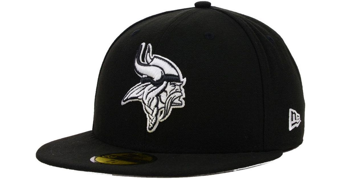 sale retailer 9e7ad 5d35d Lyst - KTZ Minnesota Vikings Black And White 59fifty Fitted Cap in Black  for Men