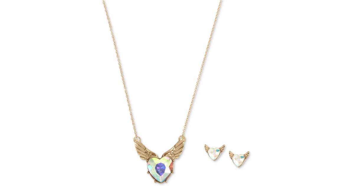 Lyst betsey johnson gold tone iridescent stone winged heart lyst betsey johnson gold tone iridescent stone winged heart pendant necklace stud earrings set in metallic aloadofball Gallery