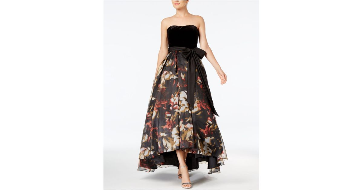 Lyst Betsy Adam Strapless High Low Gown In Black