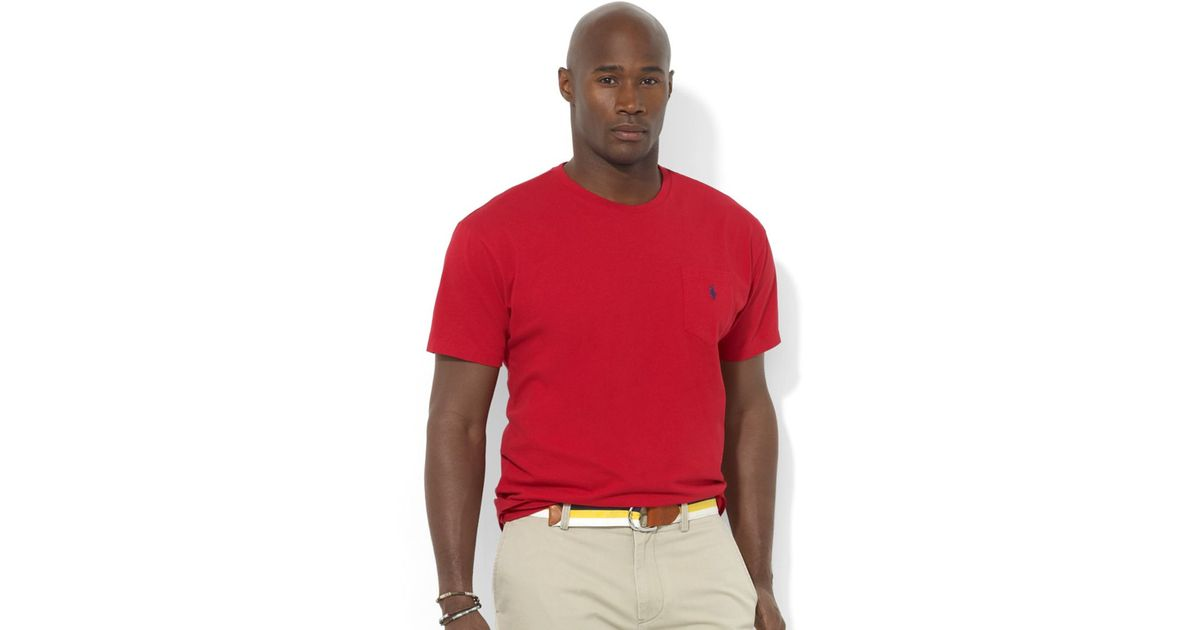 Polo ralph lauren men 39 s big and tall t shirts pocket tee for Mens big and tall burberry shirts