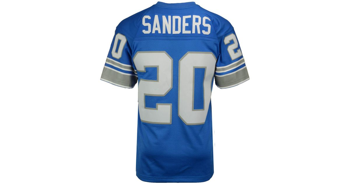 28ae913af Lyst - Mitchell   Ness Men s Barry Sanders Detroit Lions Replica Throwback  Jersey in Blue for Men