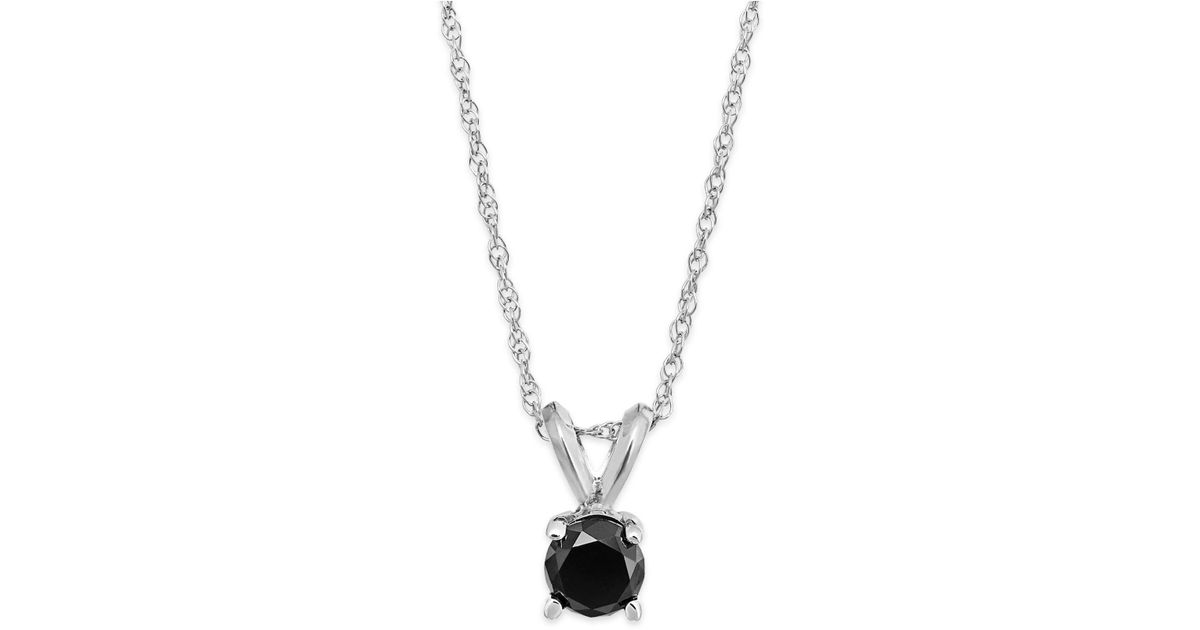 Lyst macys black diamond round pendant necklace in 10k white gold lyst macys black diamond round pendant necklace in 10k white gold 14 ct tw in metallic aloadofball Gallery