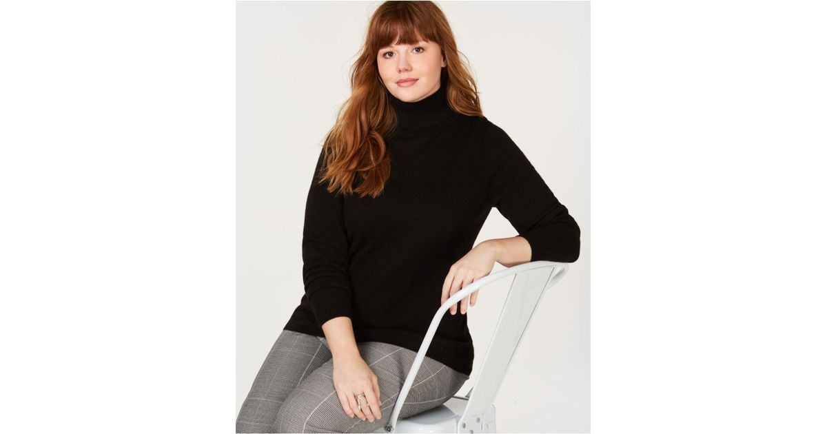 dad0bb6f0ff Lyst - Charter Club Plus Size Pure Cashmere Turtleneck Sweater ...