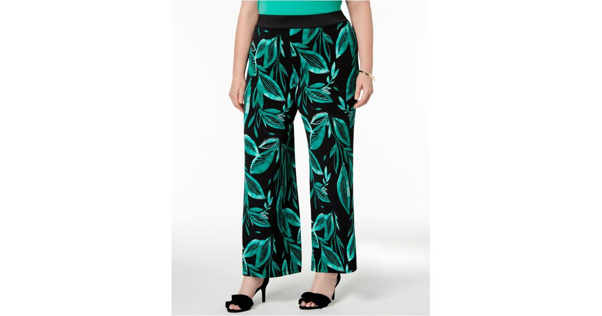 ba862fc3e124 Alfani Plus Size Printed Palazzo Pants, Created For Macy's in Green - Lyst