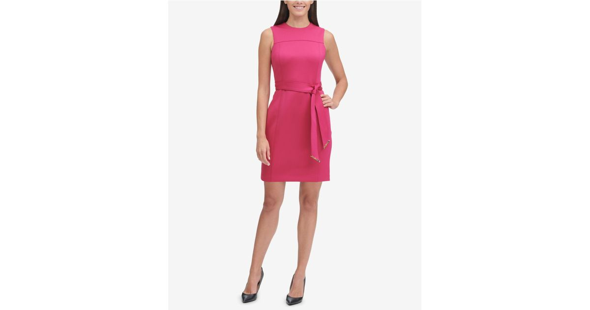47b9875e Tommy Hilfiger Belted Sheath Dress in Pink - Lyst