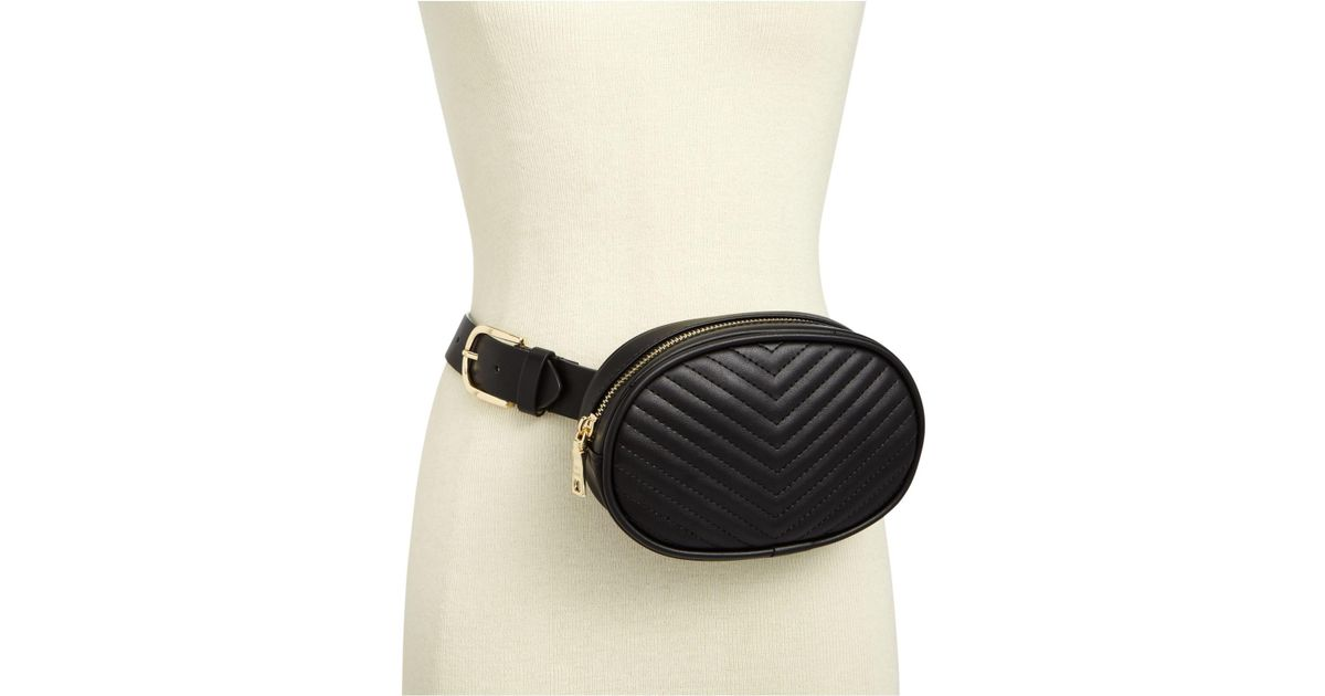 21f66f03d5fc Steve Madden Chevron Quilted Fanny Pack in Black - Lyst
