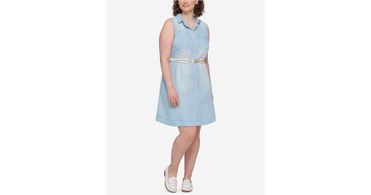 Lyst Tommy Hilfiger Plus Size Denim Shirtdress In Blue