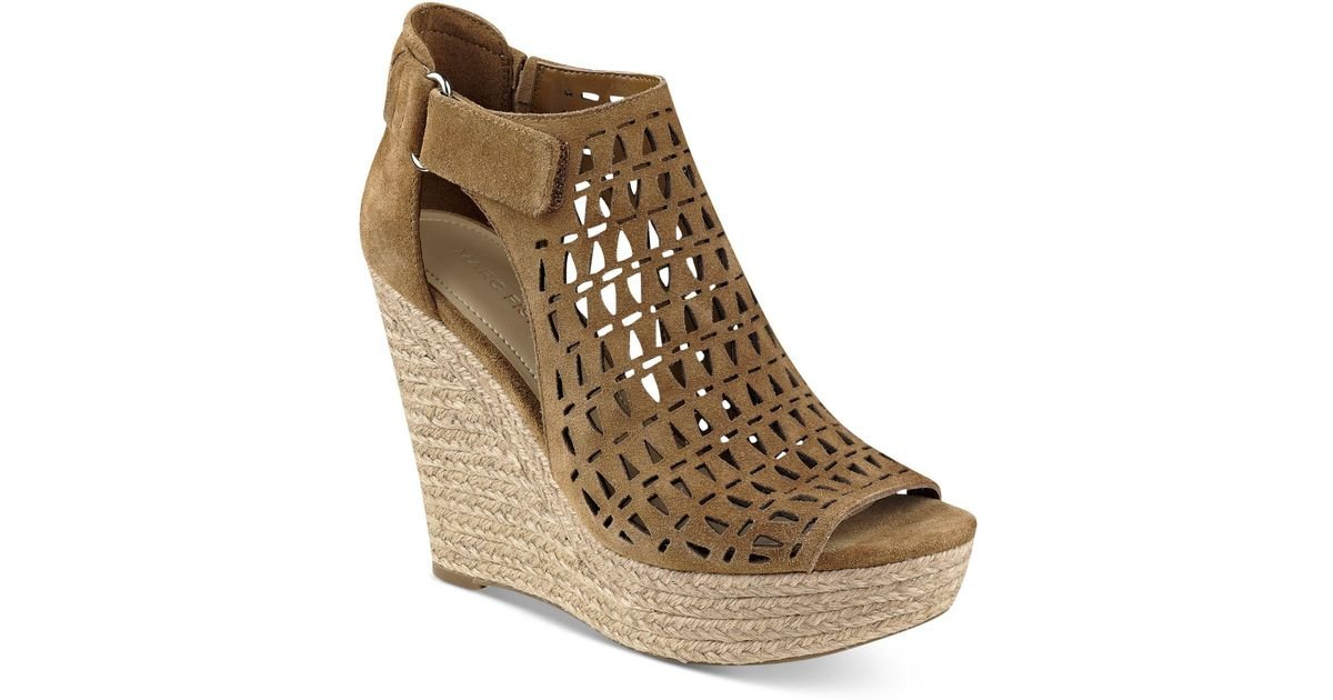 ea56cdfd8a1 Lyst - Marc Fisher Helina Platform Espadrille Wedge Sandals in Brown